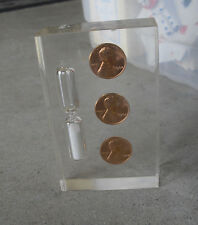 "Vintage 1964 Triple Penny in Lucite Egg Timer or Paperweight 3 3/4"" Tall"