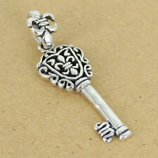 925 Sterling Silver Key of Fleur de Lis Pendant Celtic Vintage 925 Stamp SP043