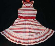 NWT Boutique No Added Sugar Red Striped Knit Tank Ruffle Trim Dress 8 9 10 Yrs