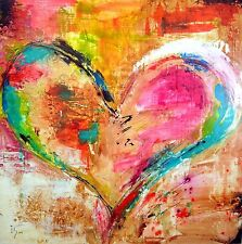 Canvas Painting Abstract Print WaterColour Heart Modern Art Picture 60cm x 60cm
