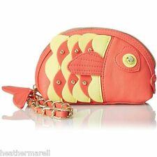 Betsey Johnson Orange Fish Kitsch Wristlet Clutch W Mirror- Hard To Find!!! NEW
