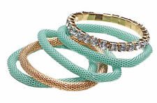 FUN SET OF 5 FLEXIBLE MINT/GOLD ROPE BRACELETS BIG WHITE RHINESTONES (CL27)