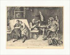 Trutzlieder paul Landmann Ofenbank musique paysans meubles marcheurs Gravure sur bois e 9492