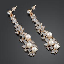 Fashion Crystal Women Wedding Pearl Rhinestone Dangle Chandelier Earrings Gift