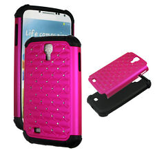 Purple for Samsung Galaxy S 4 IV  Hybrid 2 in 1 Rhinestone silicon  Cover Case