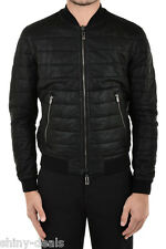 DROMe New Man Black Leather CAMOUFLAGE REVERSIBLE Quilted Bomber Jacket Size M