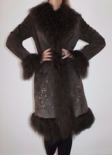 Brown real suede mongolian fur large collar bead coat uk 12 14