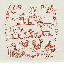 """Tea Towel with Country Scene Embroidery in Redwork 16"""" x 26"""" Hand-crafted AL-029"""