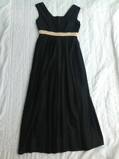 Blanes Vintage Grecian Style Dress 50s 60s Size 14 Black. Gold Embroidered Waist