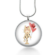 Cat with Balloons Necklace, Cat Pendant, animals ,gifts for women,jewelry