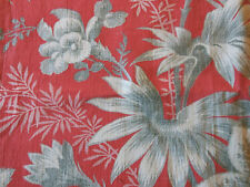 Antique 19thC French Faded Toile Floral Cotton Fabric ~Salmon Red Gray~
