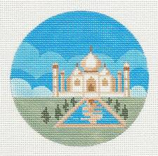 """Painted Pony INDIA Taj Majal handpainted Needlepoint Canvas 4"""" Rd. Ornament"""