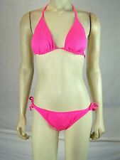 YMI Neon Pink String Bikini Top and Bottoms Set Womens Size Small 4 6 NWT NEW