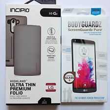 LG G3 Incipio Silver/Gray Highland Folio w/Card Slot + Bodyguardz Screen New OEM