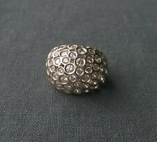 Astounding quality huge 925 Sterling silver bling diamante dress big ring size N