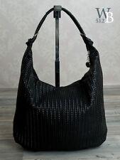 ital. vintage Schultertasche Damentasche echtes Leder geflochten Schwarz 852S