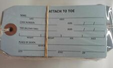 coroner and funeral home toe identification tag 100 tags 5.25 x 2.625 met002lb6