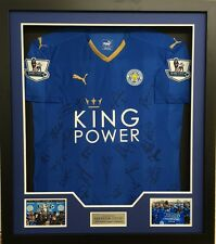 Leicester City F.C. FRAMED SIGNED SQUAD JERSEY INC Vardy Mahrez COA AFTAL (D)