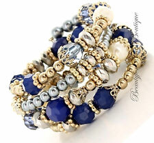 Womens Beaded Ornate Intricate Crystal Chunky Vintage Adjustable Coil Bracelet