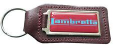 Lambretta Claret & Blue Quality Burgundy Leather Keyring