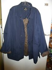 Woman's Blue Jacket by DENNIS BASSO Leopard Print Lining - Size 2X