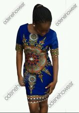 Odeneho Wear Ladies Blue Dashiki Dress. African Clothing. All Sizes Available.