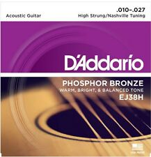 3 Sets  D'Addario EJ38H Acoustic Guitar Strings Nashville Tuning 10-27
