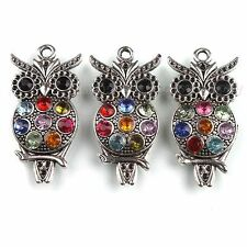10pcs New Antique Silver Mixed Rhinestone Owl Animal Charms Zinc Alloy Pendant L