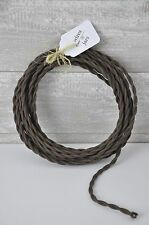 Cotton Twisted Cloth Covered Electrical Cord Wire LENGTH BY FOOT Brown Lamp Cord