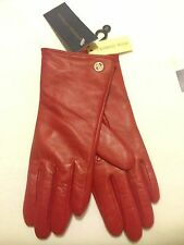 Adrienne Vittadini Red Genuine Leather Cashmere Blend Lining Gloves Small NWT