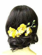 Long Yellow Orchid Flower Stem Hair Comb Fascinator Headpiece Rockabilly 1272
