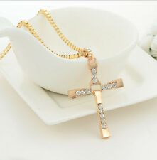 Fashion Unisex's Men Stainless Steel Crystal Cross Pendant Necklace Chain Gold