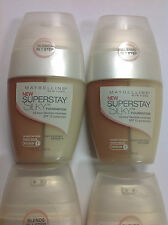 ( LOT OF 4 ) Maybelline Superstay Silky Foundation SANDY BEIGE (MEDIUM#1) NEW.