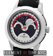 Perrelet Central Lunar Phase Stainless Steel Black 40mm A1039/4 NIB