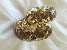 Vintage Glitter Lucite Gold with CHAMPAGNE Shells Confetti Clamper Bracelet CUFF