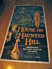 House on Haunted Hill Original 3sh Movie Poster '59 Vincent Price & skeleton