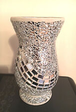 Beautiful Mosaic Mirrored Crackle Glass Pedestal Vase 26.5cm Home Decor