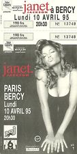 RARE / TICKET CONCERT - JANET JACKSON LIVE TO PARIS 10 AVRIL 1995 / COMME NEUF