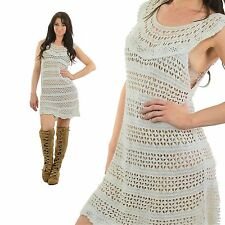 Vintage 70s White Hippie Boho sheer knit crochet mini dress