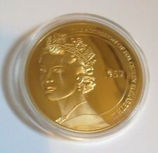 HM Queen Elizabeth 2 Diamond Jubilee Cu Gold Plated Commemorative Coin - Britain