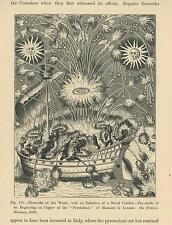 ANTIQUE FIREWORKS DISPLAY ON WATER SHIP REENACTMENT OF NAVAL COMBAT SMALL PRINT
