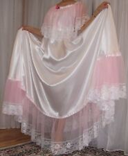 Vtg satin nylon lace lingerie nightgown long full sweep negligee 3X-5X