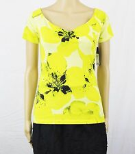 MSRP $34 GUESS Teri Floral-Print Y-Neck Top Lime Blossoms Size L