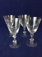 Four (4) Vintage CRYSTAL ETCHED Cordial Dessert Glasses 4 oz Stems  ~ Gorgeous