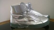 Womens Andy Warhol Hi Top Silver Basketball Sneakers Shoes Metalic Silver Sz 10