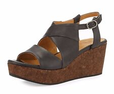 COCLICO SHOES MELANIA SLINGBACK CORK WEDGE SANDALS BLACK LEATHER 38.5 $375 7.5