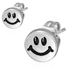 8mm Stainless Steel 2 tone Happy Smiling Smiley Circle Stud Earrings Pair PEE023