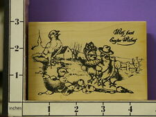 rbbb with best easter wishes vintage chicks farm rubber stamps 32c