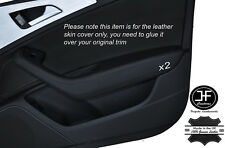 BLACK STITCHING 2X FRONT DOOR HANDLE ARMREST SKIN COVERS FITS AUDI A6 C7 11-15