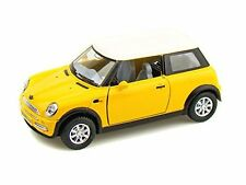 "Kinsmart 1:28 scale Mini Cooper S diecast car model w. pull back  5"" Long Yellow"